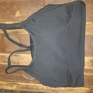EUC ATHLETA BLACK MESH CROP TOP CAMI RACERBACK BRA